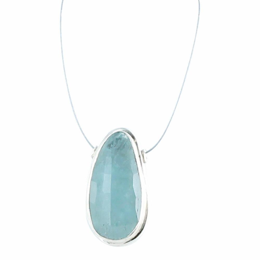 AQUAMARINE FACETED STERLING PENDANT SPACER BEAD #2 - New World Gems