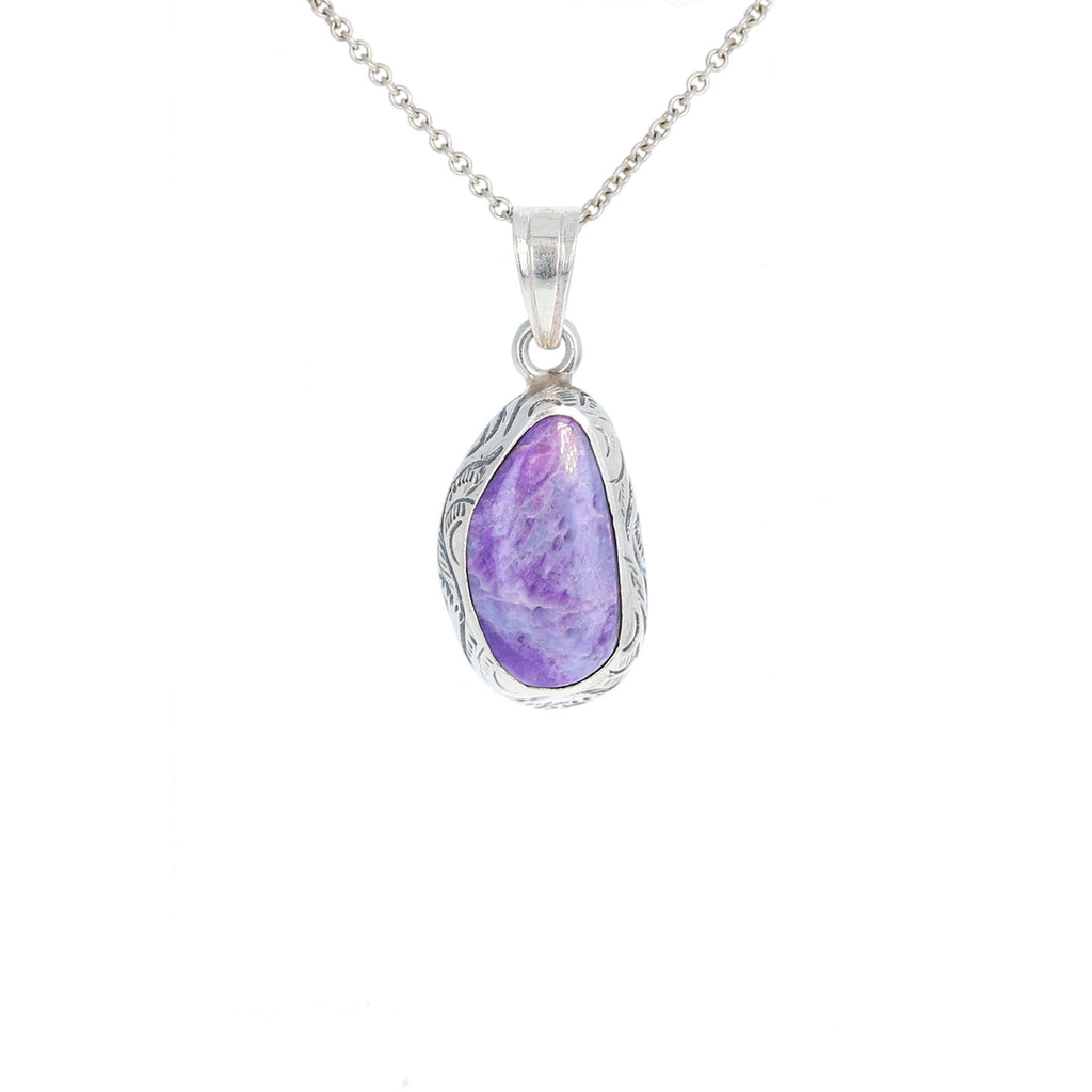 SUGILITE PENDANT STERLING SILVER FREE FORM ETCHED #1