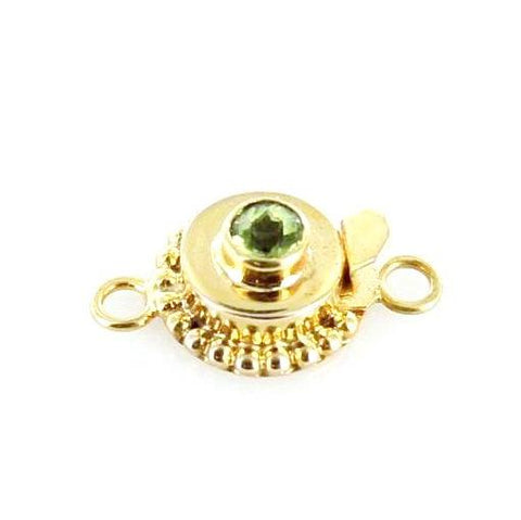 18K GOLD PERIDOT CLASP ROUND 5mm - New World Gems