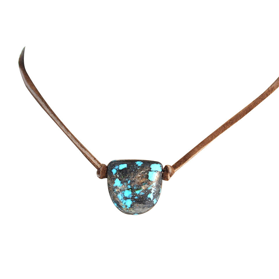 "TURQUOISE SHIELD SHAPED Pendant Necklace Blue Brown Leather 18"" Mens or Womans"