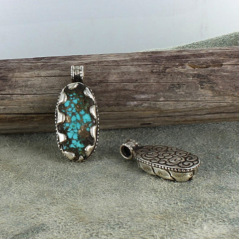 ARMENIAN TURQUOISE PENDANT Oval Sterling #3 - New World Gems