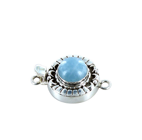 AQUAMARINE CLASP Sterling Moon Petal Design 12mm Round - New World Gems
