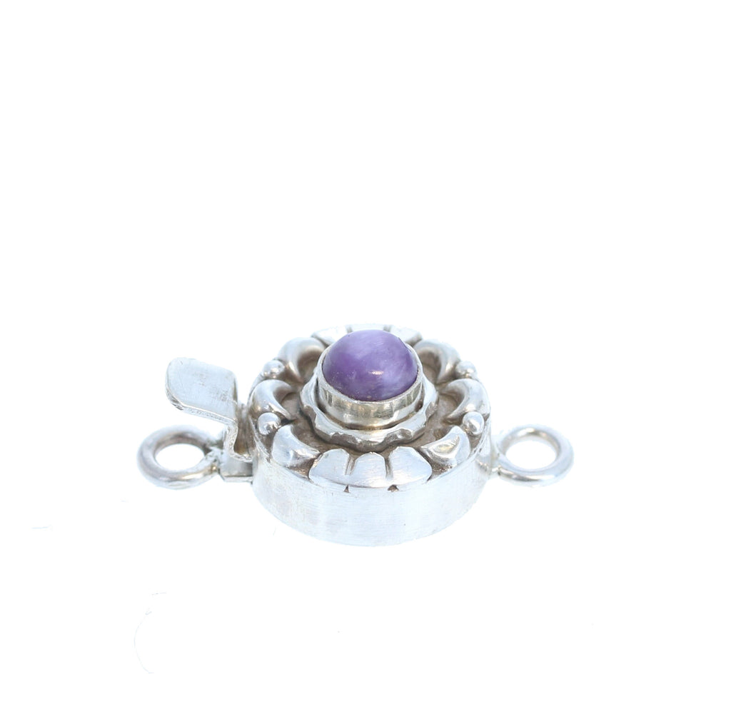 Charoite Sterling Silver Clasp Round Moon Design 5mm