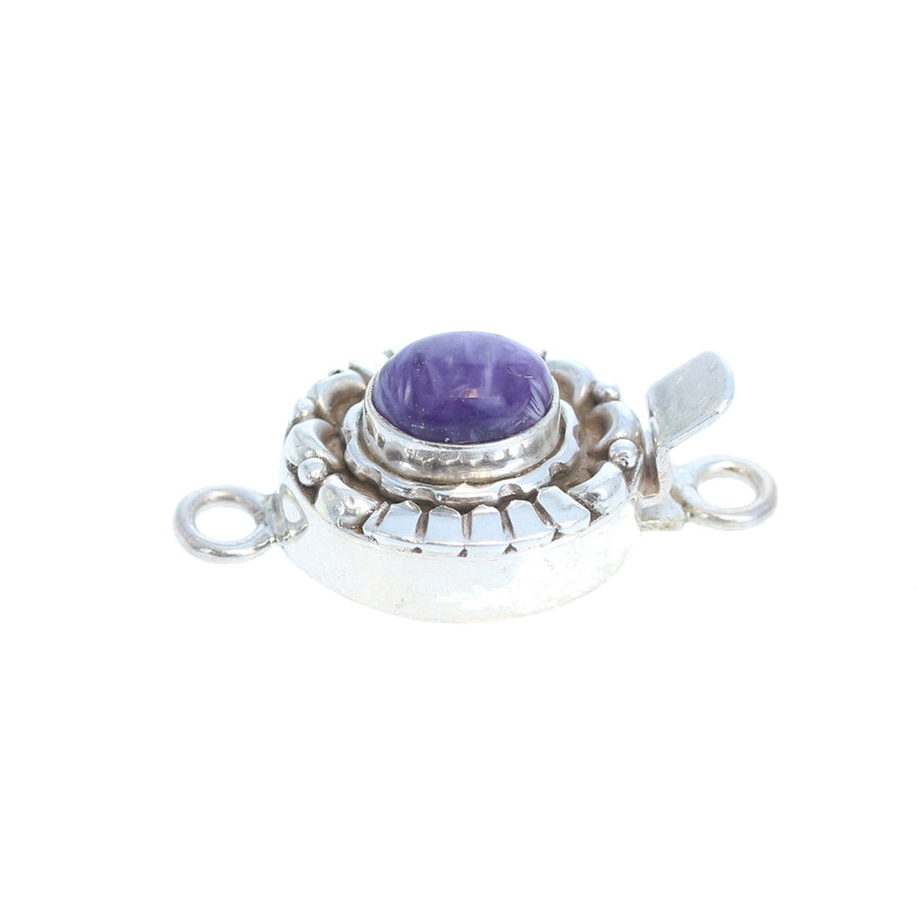 Charoite Sterling Silver Clasp Oval Moon Design 6x8mm