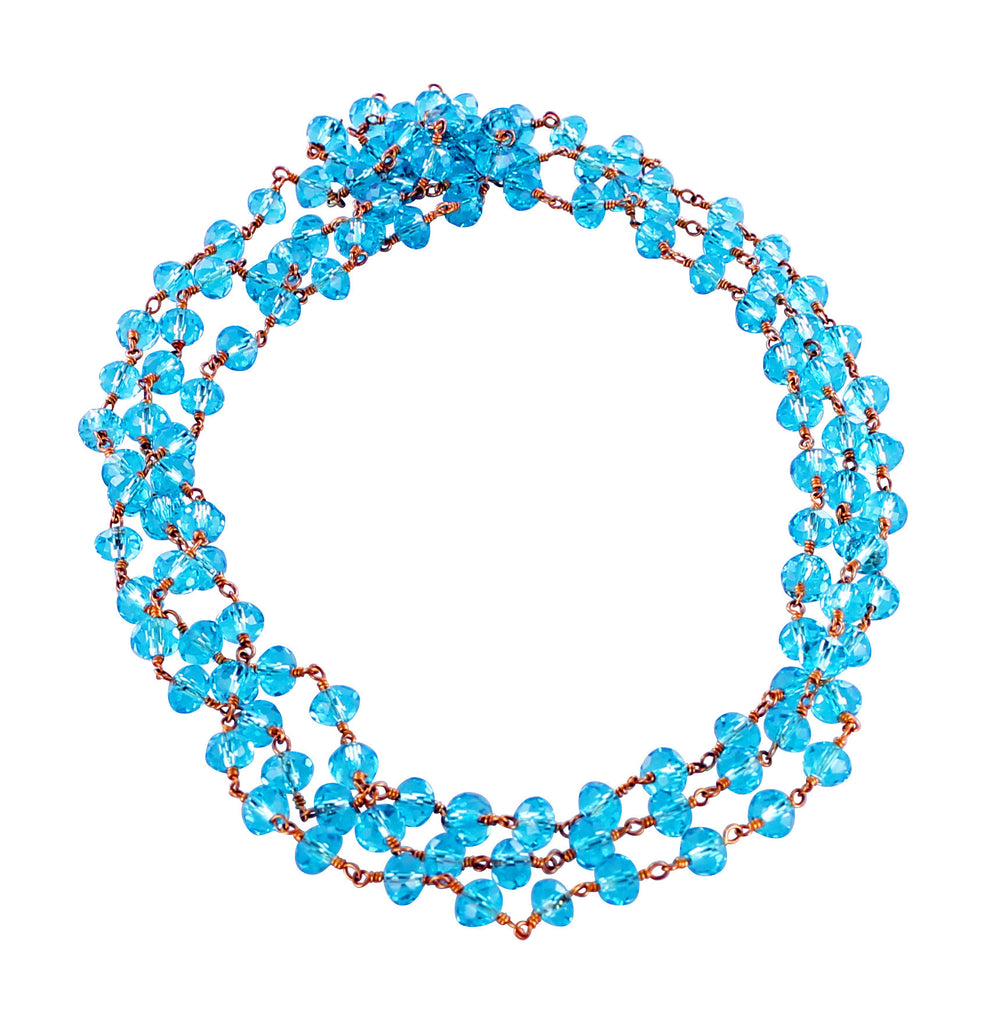 "Faceted Crystal Beads Chain Turquoise Blue 16"" - New World Gems"