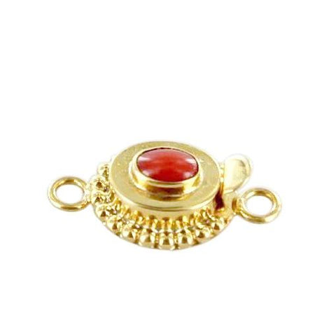 18K GOLD CLASP MEDITERRANEAN RED CORAL OVAL 7x5mm - New World Gems