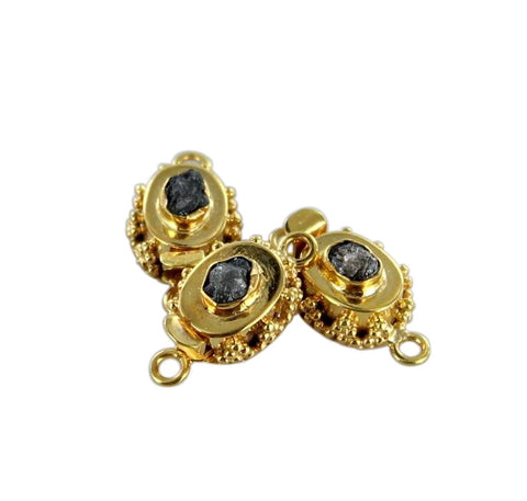 18K GOLD DIAMOND CLASP DRUSY CHOCOLATE - New World Gems