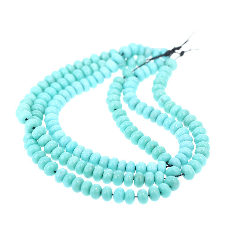 CAMPITOS TURQUOISE BEADS 5mm Rondelle Robin`s Egg Blue 8""