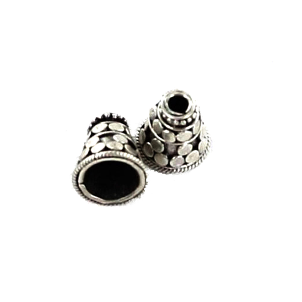 STERLING SILVER END CONES BEADED DESIGN 10.7x8.5mm