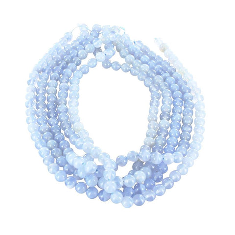BLUE CHALCEDONY BEADS 8mm ROUND 16""