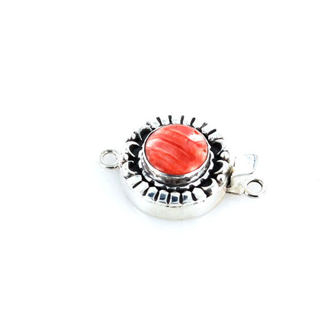 RED SPINY OYSTER Clasp Sterling Moon Petal Design Round - New World Gems