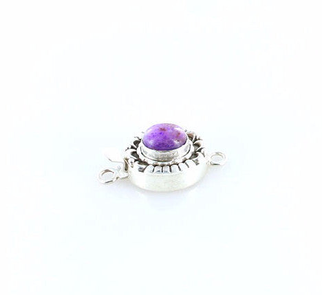 SUGILITE CLASP Sterling Moon Petal Design 10.5x9mm Magenta Purple - New World Gems