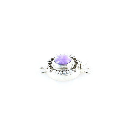 SUGILITE CLASP Sterling Moon Petal Design 10x8mm Lavender - New World Gems