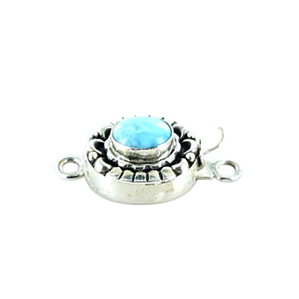 LARIMAR CLASP Sterling Moon Petal Design 7x9mm - New World Gems