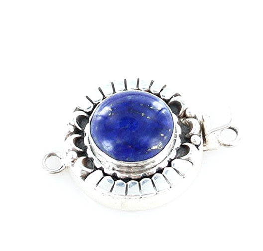 LAPIS CLASP Sterling Moon Petal Design 14mm Round - New World Gems