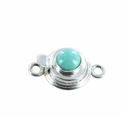 CAMPITOS TURQUOISE CLASP Round 7mm Sterling - New World Gems