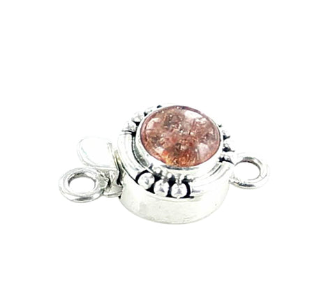 SUNSTONE CLASP STERLING Round 8mm - New World Gems