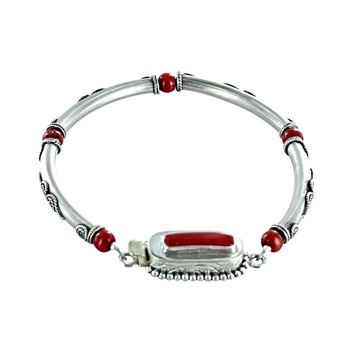 "CORAL STERLING SILVER BRACELET CORAL CLASP 7.25"" - New World Gems - 1"