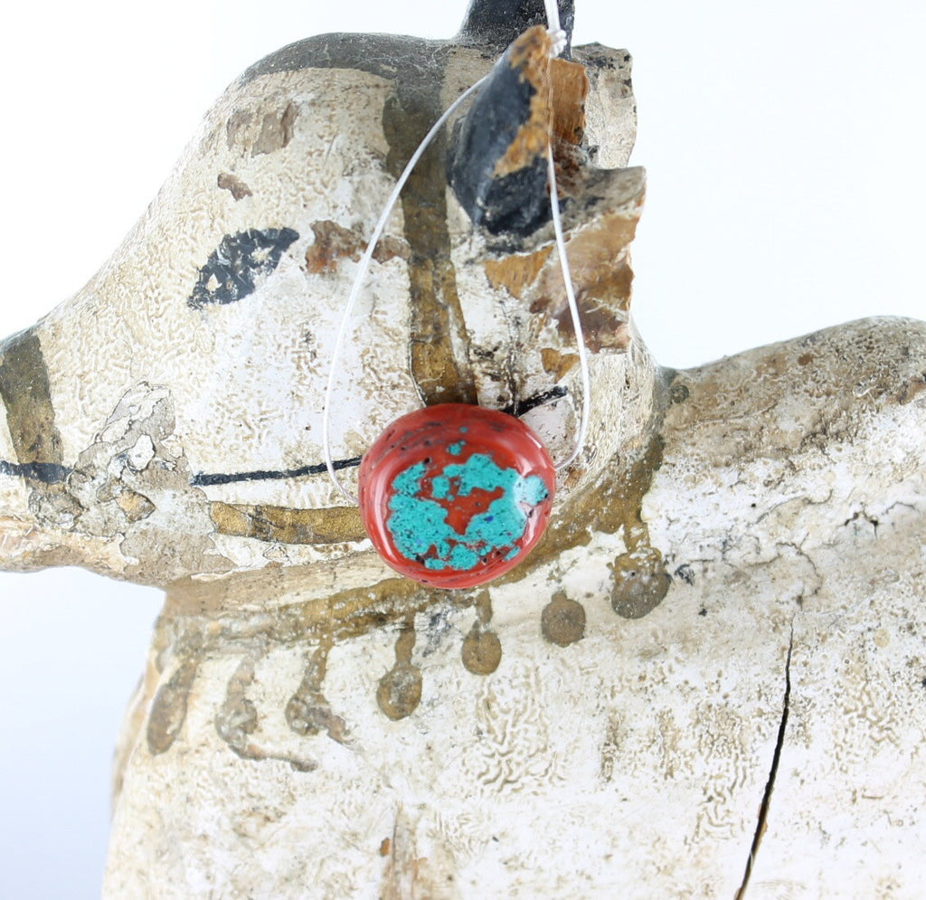 CORAL BEAD with INLAID Turquoise 20mm