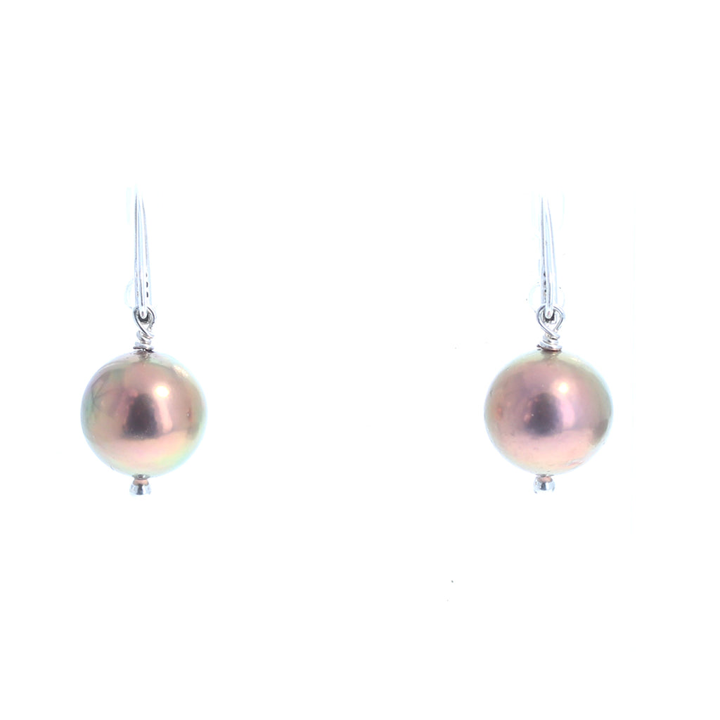EDISON PEARL Sterling Silver Earrings Stunning