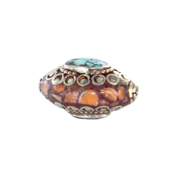 Tibetan Coral and Turquoise Mosaic Brass Centerpiece Bead - New World Gems - 2