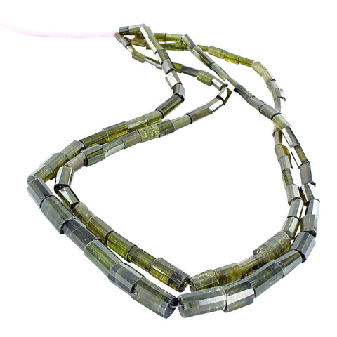 OLIVE GREEN TOURMALINE FACETED CYLINDER BEADS 5x8-15x8mm - New World Gems - 1