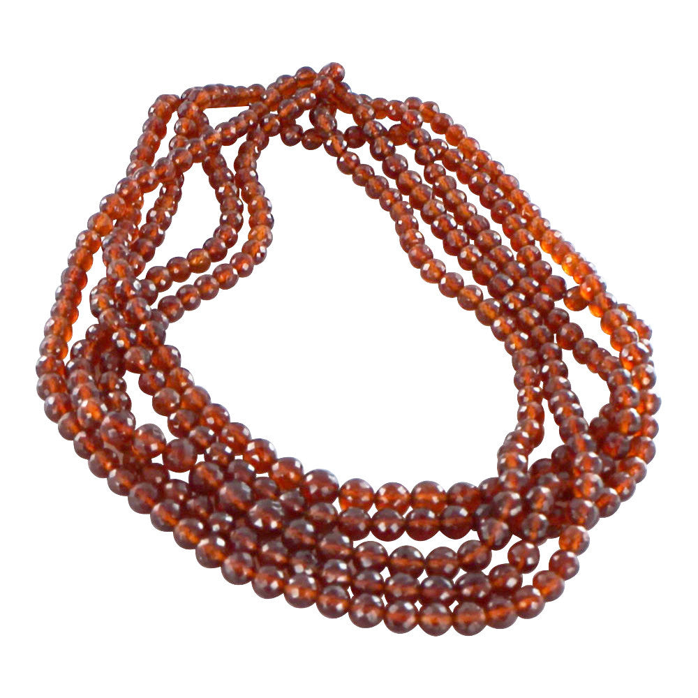 HESSONITE GARNET BEADS FACETED GRADUATED ROUNDS - New World Gems - 1