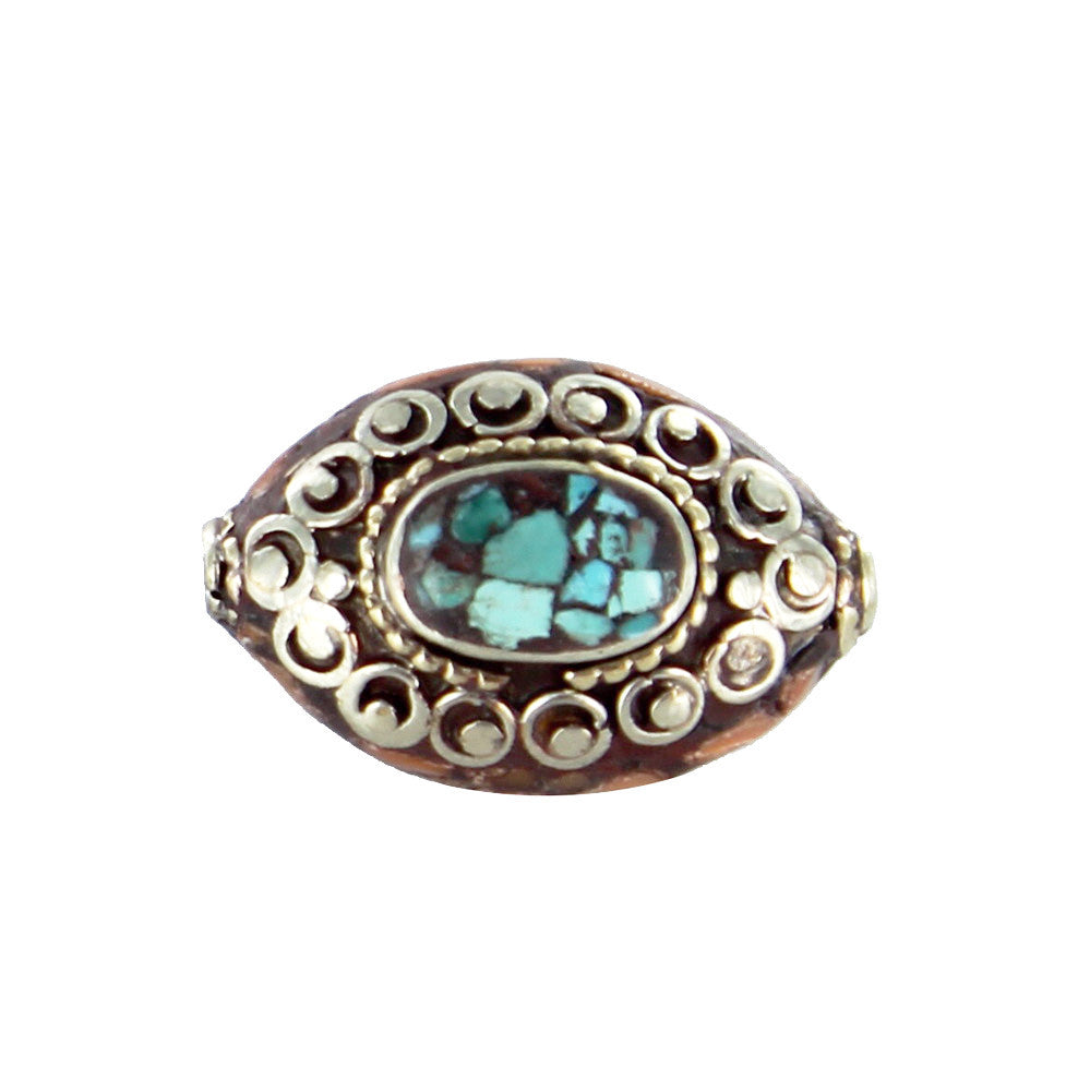 Tibetan Coral and Turquoise Mosaic Brass Centerpiece Bead - New World Gems - 1