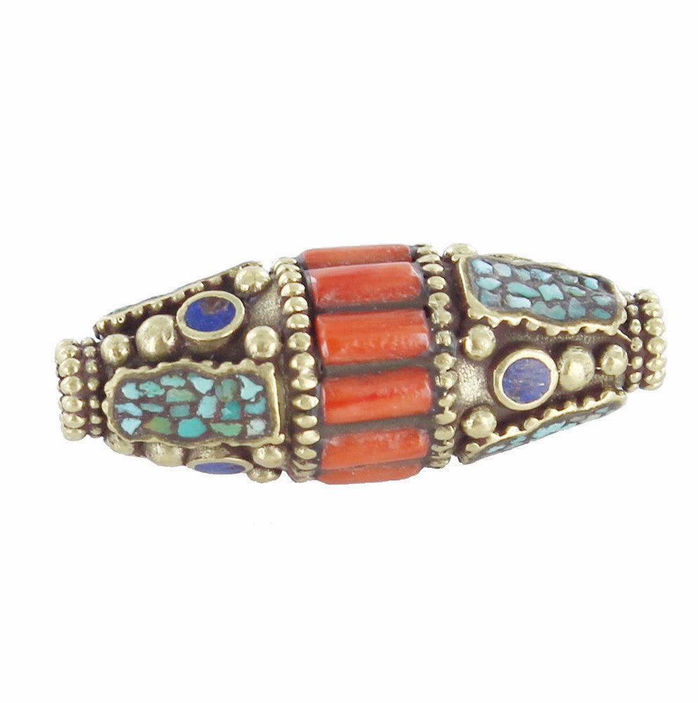 Tibetan Coral, Lapis and Turquoise Brass Centerpiece Bead - New World Gems - 1