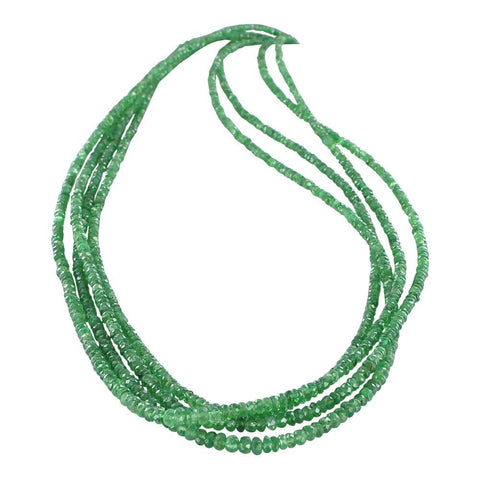 "TSAVORITE GARNET BEADS FACETED RONDELLE 2-4mm 18"" - New World Gems - 1"