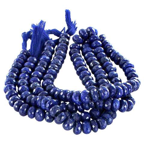 "LAPIS BEADS Faceted Rondelles 11mm 10"" - New World Gems"