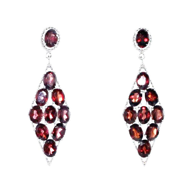 GARNET STERLING EARRINGS MARQUIS SHAPE 10 Stones - New World Gems - 1