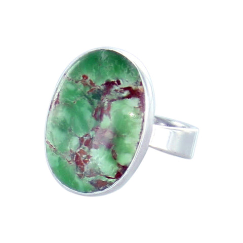 Variscite Ring Sterling Silver 21x16mm Size 6 - New World Gems - 1