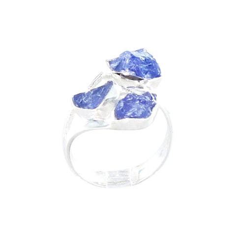 TANZANITE Ring 9mm Sterling Silver 3 Stone Sze 8 - New World Gems - 1