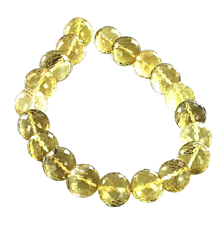 Brazilian LEMON QUARTZ Beads Round 13.5mm 10""