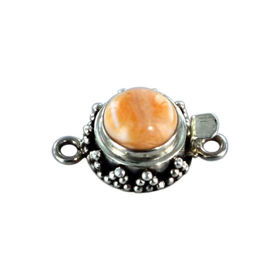 Spiny Oyster Clasp Sterling Round Light Orange 10mm - New World Gems