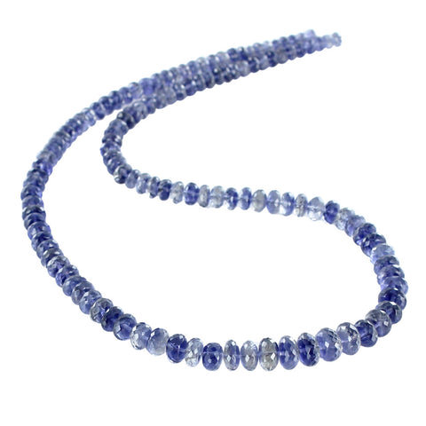 "IOLITE BEADS Faceted Graduated Rondelles 5-9mm 18"" - New World Gems - 1"