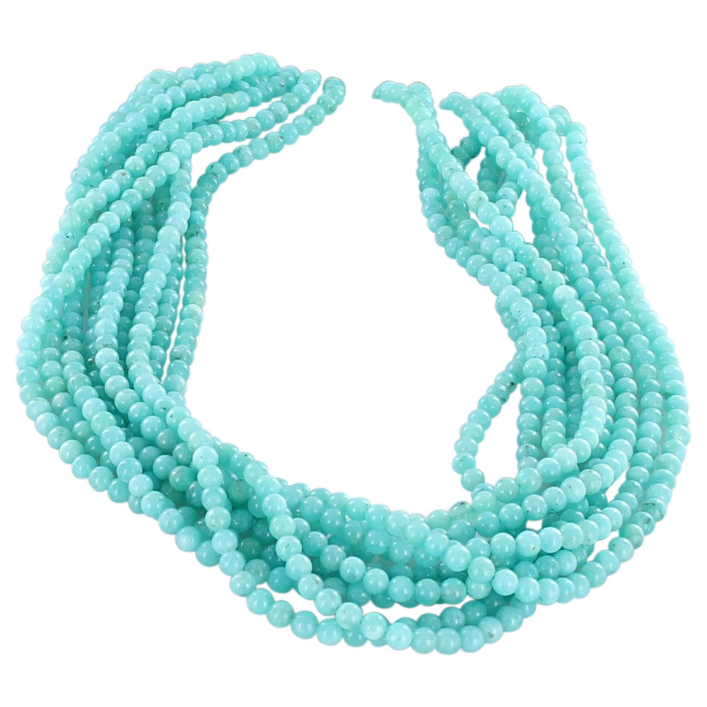 AMAZONITE BEADS ROUND 4mm - New World Gems