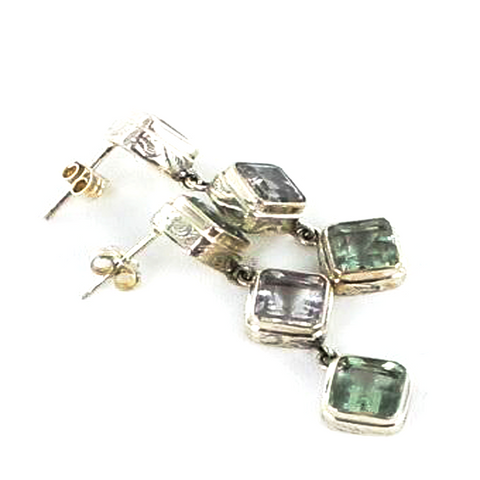 PURPLE GREEN FLUORITE STERLING EARRINGS FACETED 3 STONE - New World Gems - 2