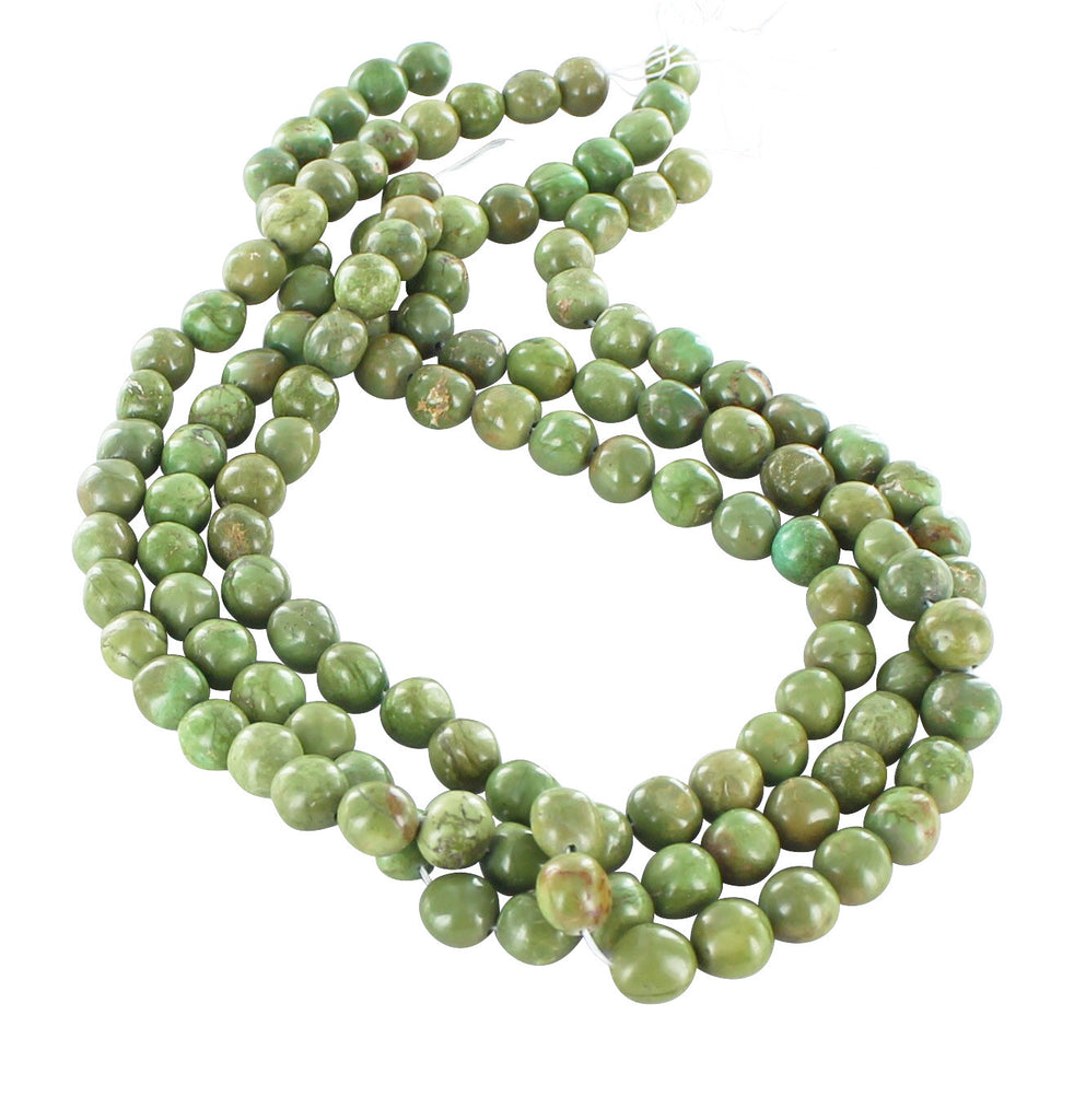 RARE  GREEN VALLEY TURQUOISE PEBBLE Beads 11mm - New World Gems