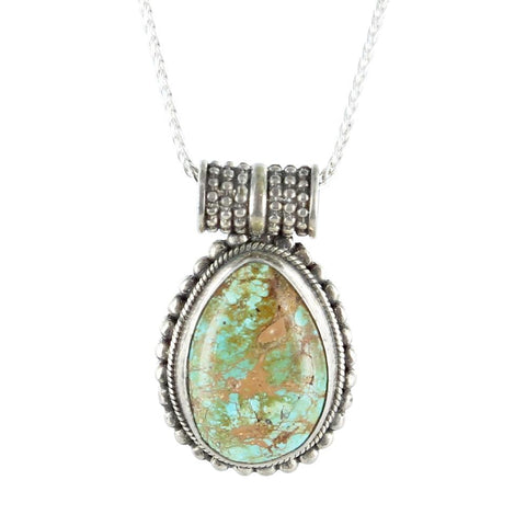 "HACHITA TURQUOISE PENDANT TEARDROP NEW MEXICO NECKLACE 16"" - New World Gems - 2"