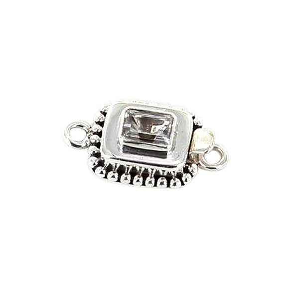 White Topaz Faceted Sterling Cushion Clasp 9x7mm - New World Gems