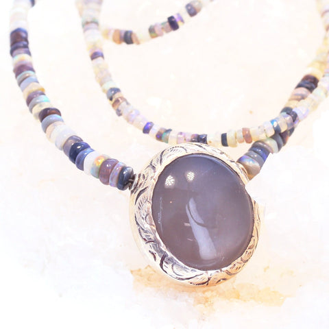 Multicolor AUSTRALIAN OPAL Necklace with Moonstone Pendant