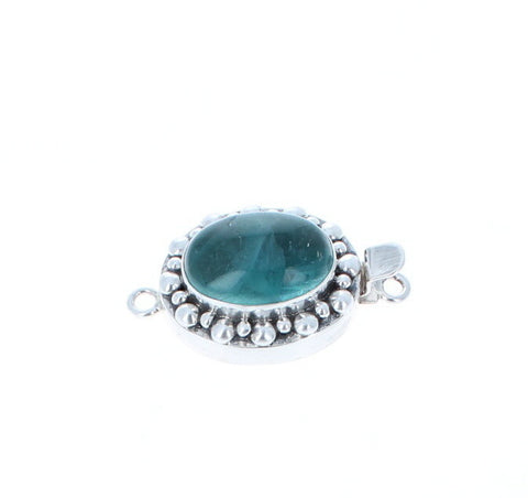 BLUE GREEN FLUORITE Clasp Sterling Large Oval
