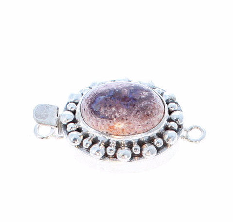 MEXICAN OPAL CLASP LARGE Lavender Oval Sterling Dot Design