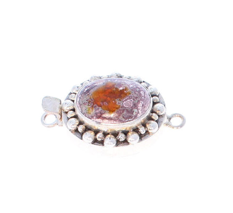 MEXICAN OPAL CLASP LARGE Orange Oval Sterling Dot Design
