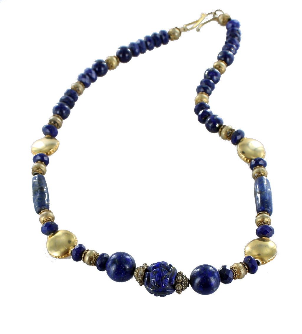 "LAPIS FACETED and CARVED BEADS NECKLACE GOLD VERMEIEL 17"" - New World Gems - 1"