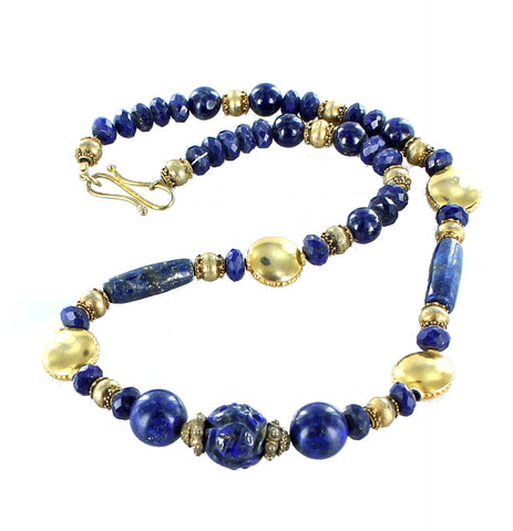 "LAPIS FACETED and CARVED BEADS NECKLACE GOLD VERMEIEL 17"" - New World Gems - 3"