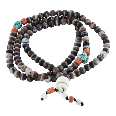 AGATE CORAL and TURQUOISE Tibetan Mala Prayer Beads - New World Gems
