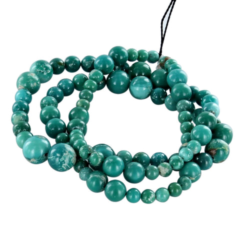 FOX MINE AMERICAN TURQUOISE BEADS ROUND TEAL GREEN 5-8.2mm - New World Gems - 2